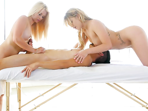 Teens Stroke And Suck Fat Cock On A Massage Table