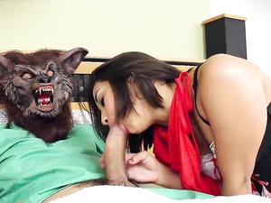 Horny Teen Costume Girl Fucking His Big Dick In Bed
