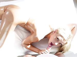 Rubbing Her Gorgeous Oiled Ass Gives Him A Boner