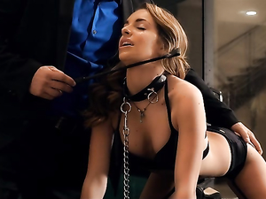 Rich Man Dominates A Beauty On A Leash