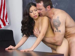 Latina Teen On The Teachers Desk For Hot Fucking