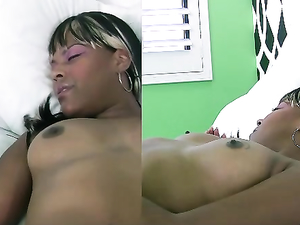 Cumming On Her Perky Black Titties
