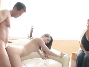 Fucking A Beautiful Teen As His Chubby Wife Watches