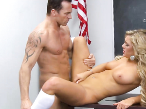Hottest Blonde Student In School Makes The Teacher Cum