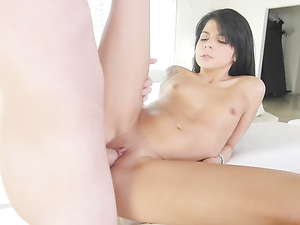 Tiny Tits Cutie On Her Knees Eating Big Dick