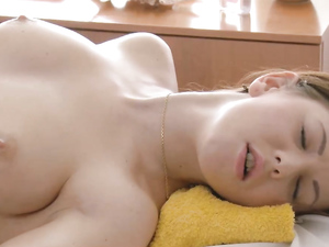 Sweet Young Lady On His Massage Table Wants Cock