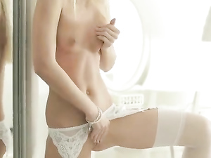 Perfection In White Lace Lingerie Masturbates