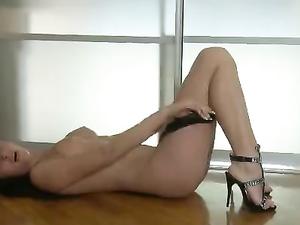 Strappy Black Heels On A Sexy Masturbating Teenager