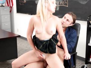 Miniskirt Slut Bent Over A Desk And Fucked Hard